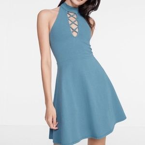 Lace Up Mock Neck Fit and Flare Dress